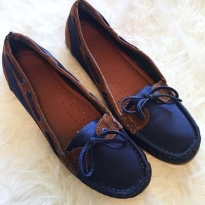 bamboo blue and brown boat shoes